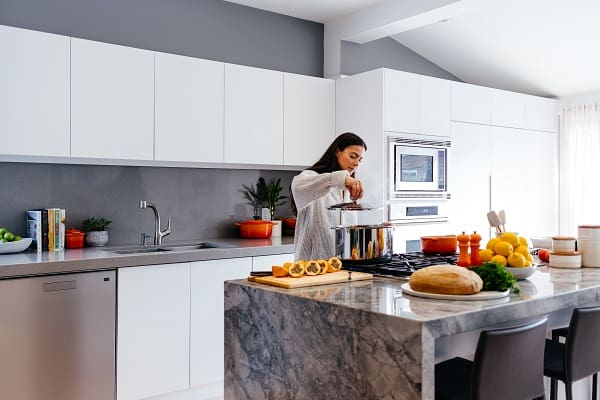 Ilot cuisine marbre