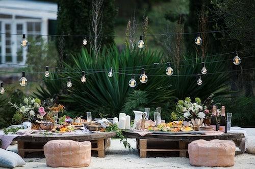 deco table anniversaire  guirlandes lumineuses